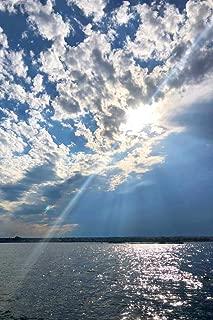 Afternoon Sky Moody Clouds Sunburst Ocean Maine Coast Landscape Photo Cubicle Locker Mini Art Poster 8x12