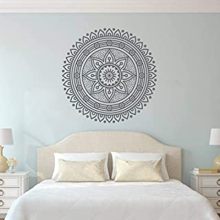 Fashion Mandala Wall Sticker Home Removable Vinyl Sticker Ceremony Object Sphere Wall Decal Meditation Yoga Wall Art Wall Sticker Family Garden Black 57x57cm
