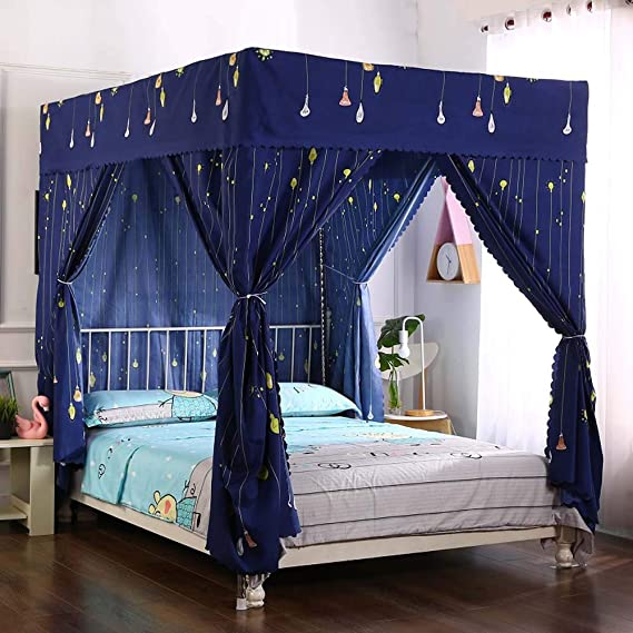 Twin, Red Pangzi Bohemian 4 Corner Post Bed Curtain Canopy Bed Curtain Drapes for Adults Girls
