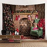 WERT Chimenea Árbol de Navidad Tapiz Decoración navideña Tela para Colgar Fondo Tapiz de Tela A3 150x200cm