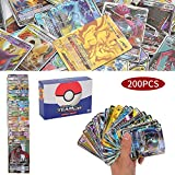 200 Piezas Pokemon Cartas, Cartas de Pokemon GX Trainer, Flash Cartas, Sun & Mood Series, Cartas Coleccionables (62Tag Team GX + 132GX + 6Trainer)