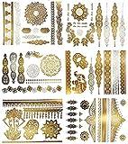 KingSnow Flash Tattoos, Temporäre Tattoos Wasserdicht Metallic Tattoos, 10 Blätter 200 Mustern...