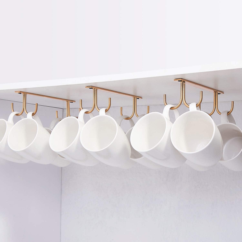 Amazon Com Mug Rack Under Cabinet Coffee Cup Holder 12 Mugs Hooks Under Shelf Display Hanging Cups Drying Hook For Bar Kitchen Utensils Gold Home Improvement