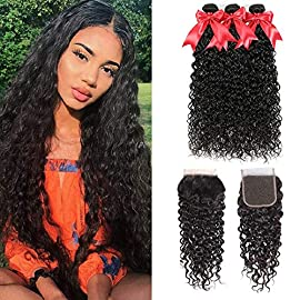 10A Brazilian Water Wave Bundles with Closure 100% Human Hair Wet and Wavy Bundles with Closure Virgin Curly Hair 3…