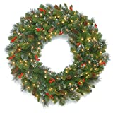 National Tree Company Pre-lit Artificial Christmas Wreath| Flocked with Mixed Decorations and Pre-strung LED Lights | Crestwood Spruce - 30 inch