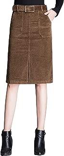 Chartou Women's Winter High Waist Corduroy Front Slit Pencil A Line Belted Midi Skirt