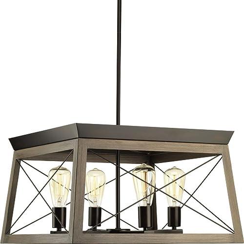 2021 Briarwood Collection Rich Oak Four-Light discount outlet sale Farmhouse Chandelier outlet sale
