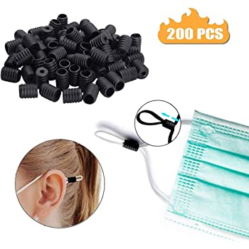 Elastic Round Strip Adjustment Silicone Plastic Buckle Clear WellieSTR 100Pcs with 2 Needle Thr Cord Locks Silicone Toggles for Drawstrings Elastic Cord Adjuster Non Slip Stopper for Adult Children