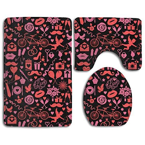 Valentines Lip Cupid Vino tinto Patrón negro Alfombra de baño de franela cómoda Alfombrillas de baño Juego de 3 piezas Suave antideslizante con almohadilla de respaldo Alfombra de baño + Alfom