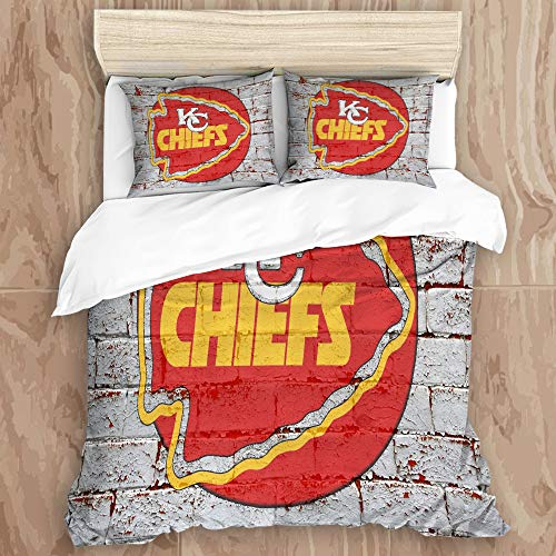 BUTTERBED Bedding Sets Bedspread, Kansas City Ch-ie-fs Logo 3D Print 7Decorative Quilted 3 Piece Coverlet Set with 2 Pillow Shams, Twins Size