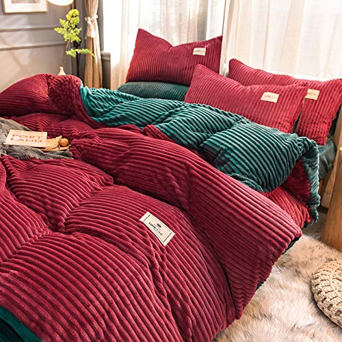 Super King Duvet Cover Set With Four-Piece Quilted Bed Skirt On Thick Coral Fleece Bed To Keep Warm In Winter Four-Piece-1.5m Bed Sheet (Quilt Cover 200x230)
