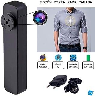 NK Cámara espía para Camisa/Chaqueta Mini Videocámara Espía Oculta 720x480 Cámara de Vigilancia Portátil Cámara de Seguridad Micro - 8GB Integrados Vídeo/Foto - Color Negro