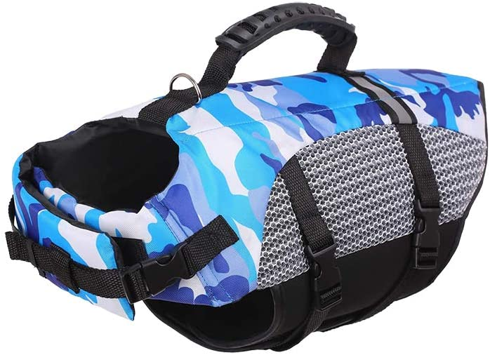 Ryoizen Outdoor Dog Training Swimsuit Dog Pet Swimming Safe Vest Puppy Swimwear Clothes Camouflage Pattern Adjustable Buckle Pets Life Jacket With Hand Handle Blue,XS