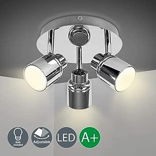 W-LITE Modern 3-Light Multi-Directional Ceiling Fixture, Adjustable Round Track Lighting Kits, GU10 LED Bulb Flushmount Ceiling Spot Light for Kitchen Hallway Bedroom, Warm White, Polished Chrome