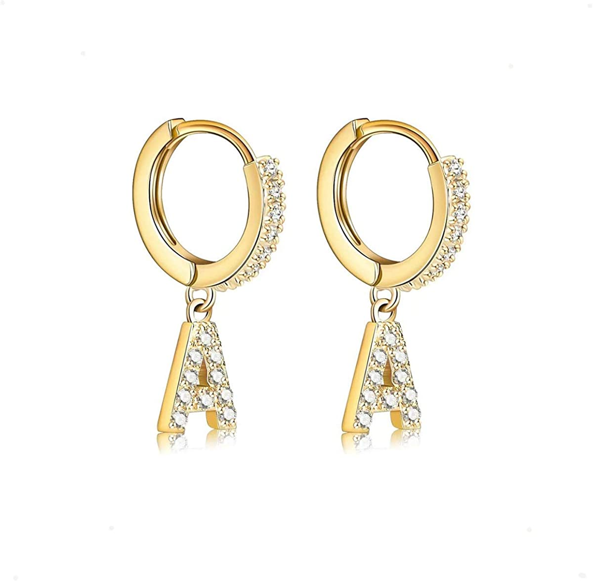 14K Gold Plated Cubic Zirconia Initial H Beauty OFFicial shop products Earrings Small Delicate