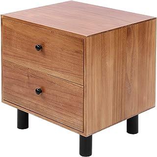Haofy Table de Chevet, Table de Chevet 2 Couches avec 2 Tiroirs, Armoire de Rangement en Bois pour Salon, Chambre et Burea...