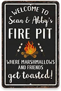 Pattern Pop Personalized Welcome to The Fire Pit Where Marshmallows and Friends Get Toasted 8 X 12 Metal Sign