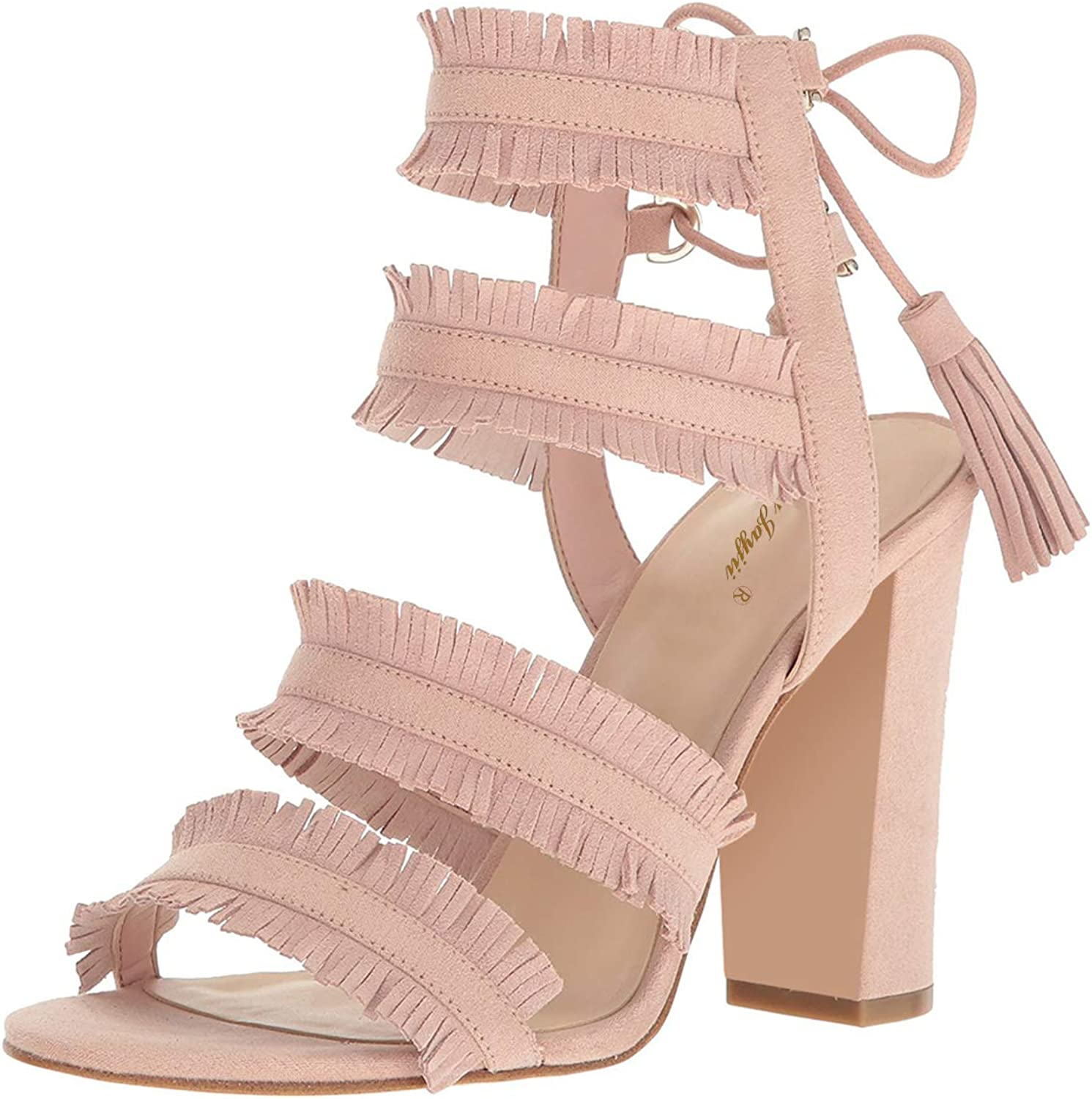 NJ Women Open Toe Chunky High Heel Strappy Dress Sandals Tassels Slingback Lace Up Party Prom Pumps