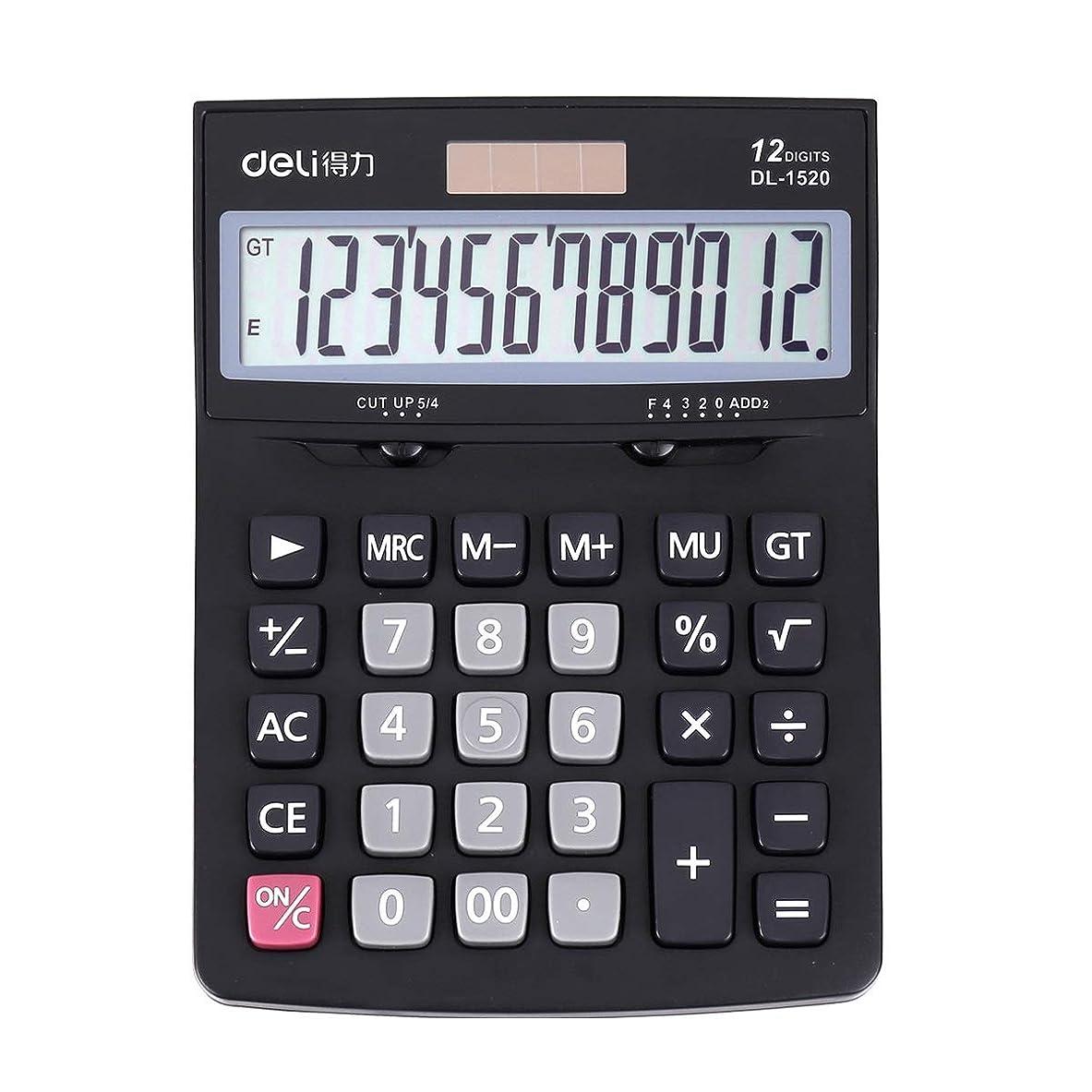オアシス可決傾向がある12桁 大型 ボタン ソーラー デスクトップ 電卓 多機能液晶ディスプレイ 学校 ホーム オフィス (バッテリーを除く)