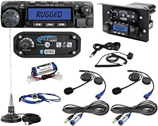 Rugged Radios XP1-KIT-HK Polaris RZR Complete UTV Communication Kit with RM60 VHF 60 Watt Radio, RRP696 Bluetooth Intercom, 2 Alpha Audio Helmet Kits, Cables, Antenna, and Mounts