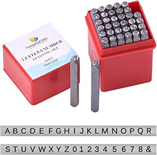 PandaHall Elite 36 Pcs Letter and Number Metal Stamp Set, 5/32 inch 4mm Alphabet A-Z and Number 0-9 and Symbol, Iron Uppercase Stamps Punch Press Tool for Imprinting on Metal Jewelry Leather Wood