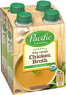 Pacific Foods Organic Free Range Chicken Broth, Low Sodium, 8oz, 4-Pack