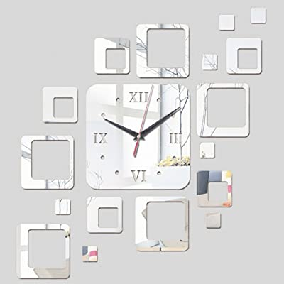 Yxx max Wall Clock DIY Geometric Wall Watches Mirror Acrylic Square Shape Decoration Wall Stickers Quartz