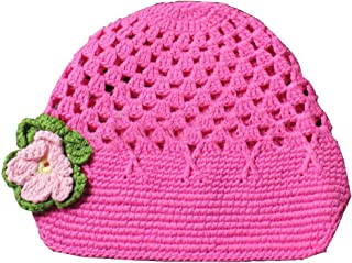 Frogwill Infant Toddler Girl Baby Handmade Knit Crochet Flowers Beanie Hat Cap (M, Rose)