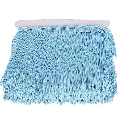 Fydun 10 Yardas borlas de Encaje con Flecos para Accesorios de Ropa y Vestido de Novia Latino y decoración de Pantalla de lámpara DIY (14 cm/5,5 Pulgadas)(Cielo Azul)