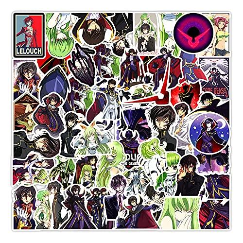 CHUDU Pegatinas de Anime Lelouch of The Rebellion para Muebles, Escritorio de Pared, Silla DIY, Maletero de Coche de Juguete, Motocicleta, 50 unids/Pack