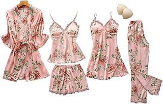 بيجاما للنساء مصنوعة من الحرير بطبعة نقشة الزهور على كامل التصميم، طقم بيجاما مكون من 5 قطع، ملابس للمنزل وملابس نوم وبيجا...
