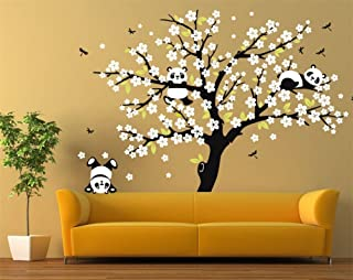 Huge Removable Vinyl Black Tree White Peach Blossom Flowers Wall Decals Murals DIY Home Art Decor Giant Pandas Plying on Trees Branches Wall Stickers Wallpaper for Living Room Bedroom 86.6x70.9