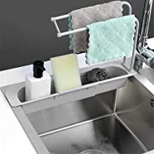 wentgo Telescopic Sink Rack Holder Expandable Storage Drain Basket for Home Kitchen, Sponge Holder Tray Freely Adjust The ...