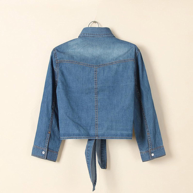 Women's Casual 3/4 Sleeve Button Down Crop Jean Top Knot Tie Denim Shirt Jacket Lightweight Blouse Tops