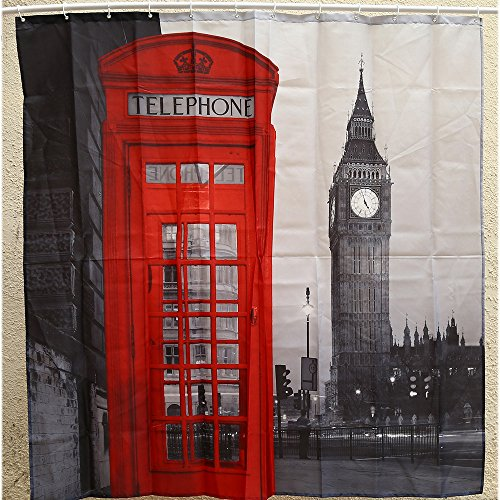 180 x 180cm Creative London Big Ben Antibacteria Shower...