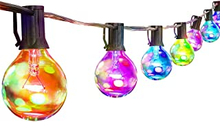 Palawell Outdoor String Lights Multicolor - 25ft 25 LED Vintage Edison G40 Clear Globe Bulbs - 5 Color Fairy Lights Christmas Lights - Dimmable - 25 Bulbs
