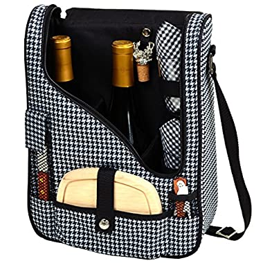 Picnic at Ascot Wine and Cheese Cooler Bag Equipped for 2 with Glasses, Napkins, Cutting Board, Corkscrew , etc.  - Houndstooth