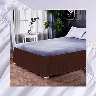 XuBa - Falda de cama elástica con volantes, color marrón oscuro, 135 x 200 + 40