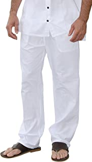 PURE COTTON Men Casual Beach Trousers Cotton Elastic Waistband Summer Pants
