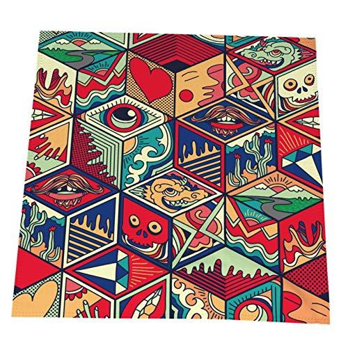 Ye Hua Hexagon Ornamental Elements Abstract Ornate Tischset 19,6x19,6 Zoll Buntes 4er-Set