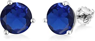 Gem Stone King 5.00 Ct Round 8mm Blue Simulated Sapphire 14K White Gold Stud Earrings