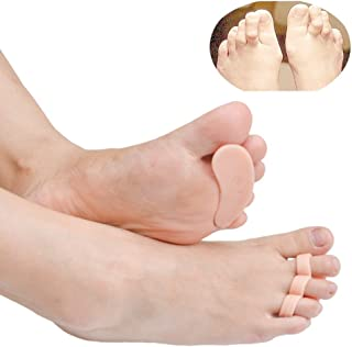 Welnove 10 Pack Hammer Toe Cushions - Hammertoe Gel Pads with 3 Loops - Claw Toe Soft Silicone Crests Splints - Temporary Toe Straightener and Corrector, Great to Reduce Foot Pain