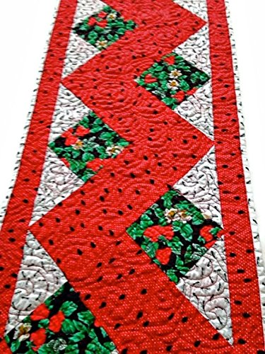 "Whimsical Quilted Table Runner Handmade / Quilted Table Topper / Quilted Table Linen – Watermelon Seeds, Strawberries and Ants – 13-3/4"" wide x 46-1/2"" long"