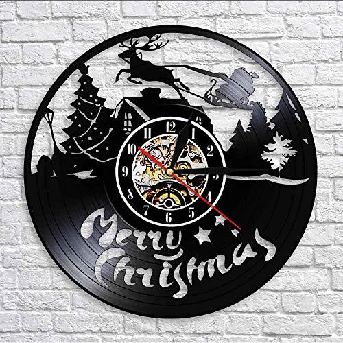 yrfchgj Wall Clocks Christmas Characters Wall Clock Reindeer Santa Clause On Sleigh Vinyl Record Wall Clock Merry Christmas Symbols Housewarming Git Lighted