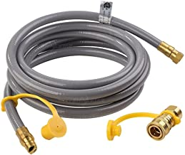 SHINESTAR 12 Feet Natural Gas Grill Hose with 3/8inch Male Flare Quick Connect/Disconnect- 50,000 BTU Fits Low Pressure Appliance with 3/8inch Female Flare Fitting-CSA Certified