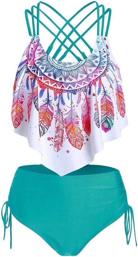 DIAOD Bikini Set 大人気 Women Feather 受注生産品 Overlay Flou Print Padded Push-up