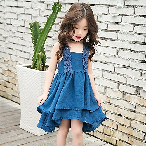MM Sommer Mädchen Rock Kinder Geschirr Kleid aus Reiner Baumwolle,Pfauenblau,110 cm