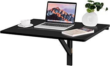 Tangkula Wall-Mounted Drop-Leaf Table, Simple Floating Folding Laptop Desk, Space Saving Hanging Table for Study, Bedroom, Bathroom or Balcony (31.5