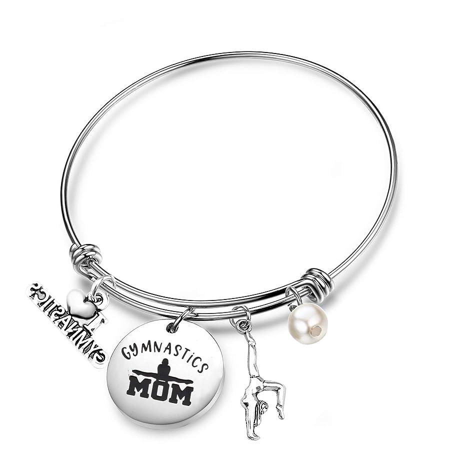 FEELMEM Gymnast Gifts Gymnastics Mom Expandable Wire Bangle with I Love Gymnastics Charm Gymnastics Jewelry Gymnast Training Gift Gymnastics Coach Gift