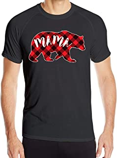 Red Buffalo Plaid Bear Mama Men's T Shirts Athletic Quick Dry Running T-Shirt